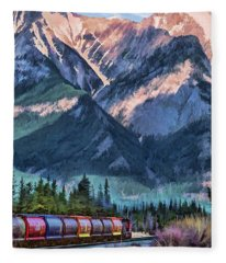Canadian National Railway In Jasper Fleece Blanket