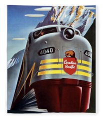 Canadian Pacific - Railroad Engine, Mountains - Retro Travel Poster - Vintage Poster Fleece Blanket
