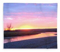 Canadian River Sunset Fleece Blanket