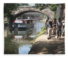 Canal Boat And Mule Team On The C And O Canal In Georgetown In Washington Dc Fleece Blanket