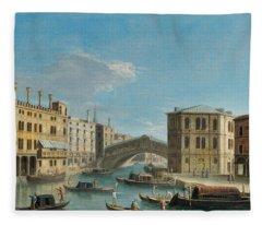 Canal Grande Overlooking The Rialto Bridge Fleece Blanket