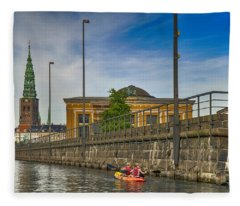 Canal Kayaking In Copenhagen Fleece Blanket