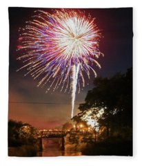 Canal View Of Fire Works Fleece Blanket