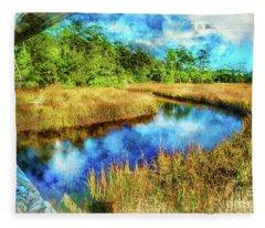Canals Bend Digital Watercolor Fleece Blanket