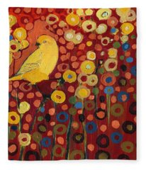 Canary In Red Fleece Blanket