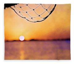 Cancun Sunset On The Lake Fleece Blanket