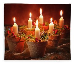Candles In Terracotta Pots Fleece Blanket