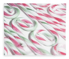 Candy Cane Swirls Fleece Blanket