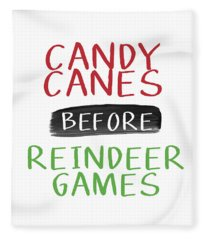 Candy Canes Before Reindeer Games- Art By Linda Woods Fleece Blanket