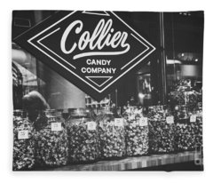 Candy Store- Ponce City Market - Black And White Fleece Blanket