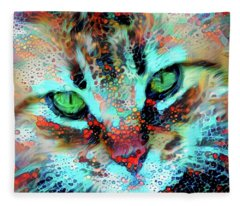 Candy The Colorful Green Eyed Cat Fleece Blanket