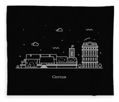 Cannes Skyline Travel Poster Fleece Blanket