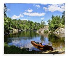 Canoe At The Portage Landing -- Slim Lake Fleece Blanket