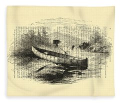 Canoe With Field Camera In Black And White Antique Illustration Fleece Blanket