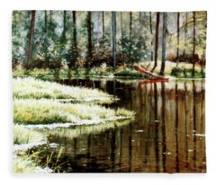 Canoe On Pond Fleece Blanket