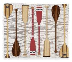 Canoe Paddles And Oars Over Wood Fleece Blanket