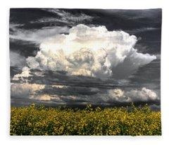 Canola Clouds Fleece Blanket