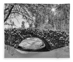 Canon Hill Park Winter - Black And White Fleece Blanket