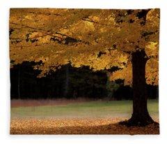 Canopy Of Autumn Gold Fleece Blanket