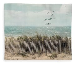 Cape Cod Beach Scene Fleece Blanket