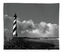 Cape Hatteras Lighthouse In Nc Black And White Fleece Blanket