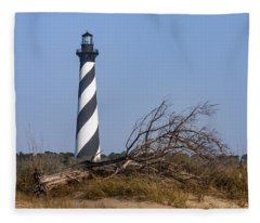 Cape Hatteras Lighthouse With Driftwood Fleece Blanket