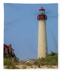 Cape May Lighthouse Vertical Fleece Blanket