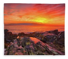 Cape Neddick Sunrise Fleece Blanket