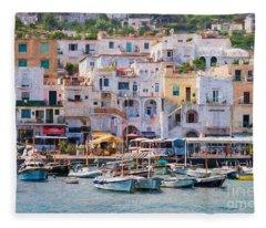 Capri Boat Harbor Fleece Blanket