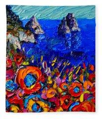 Capri Faraglioni Italy Colors Modern Impressionist Palette Knife Oil Painting By Ana Maria Edulescu  Fleece Blanket
