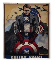 Captain America Recruiting Poster Fleece Blanket