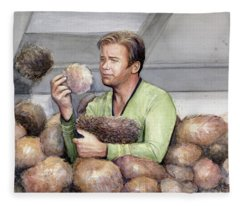 Captain Kirk And Tribbles Fleece Blanket