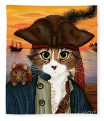 Captain Leo - Pirate Cat And Rat Fleece Blanket