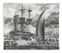 Captain Wallis Attacked By The Indians, 1767  Fleece Blanket