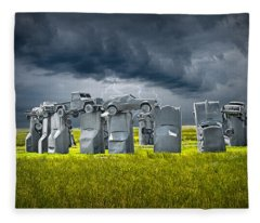 Car Henge In Alliance Nebraska After England's Stonehenge Fleece Blanket