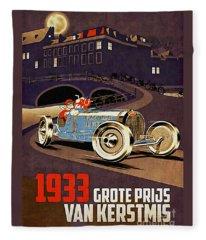 Car Racing Christmas Poster Of The 30s Fleece Blanket