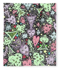 Card Game Symbols Cartoon Fleece Blanket