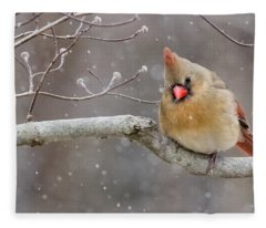 Cardinal And Falling Snow Fleece Blanket