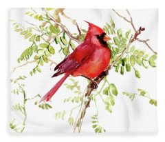 Cardinal Bird Fleece Blanket