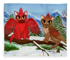 Cardinal Cats Fleece Blanket