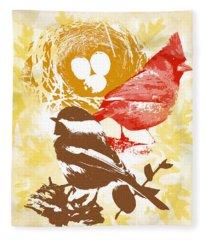 Cardinal Chickadee Birds Nest With Eggs Fleece Blanket