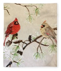 Cardinal Couple Fleece Blanket