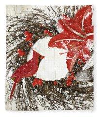 Cardinal Holiday I Fleece Blanket