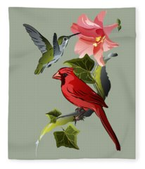 Cardinal On Ivy Branch With Hummingbird And Pink Lily Fleece Blanket