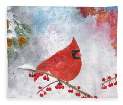 Cardinal With Red Berries And Pine Cones Fleece Blanket