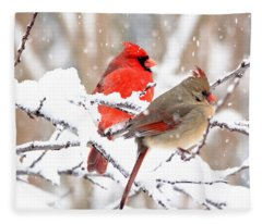 Cardinals In The Winter Fleece Blanket