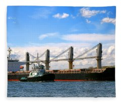 Cargo Ship And Tugboats  Fleece Blanket