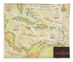 Caribbean Map II Fleece Blanket