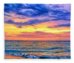 Caribbean Sunset Fleece Blanket