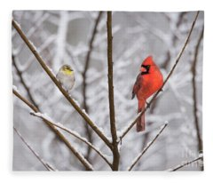 Goldfinch And Cardinal Fleece Blanket